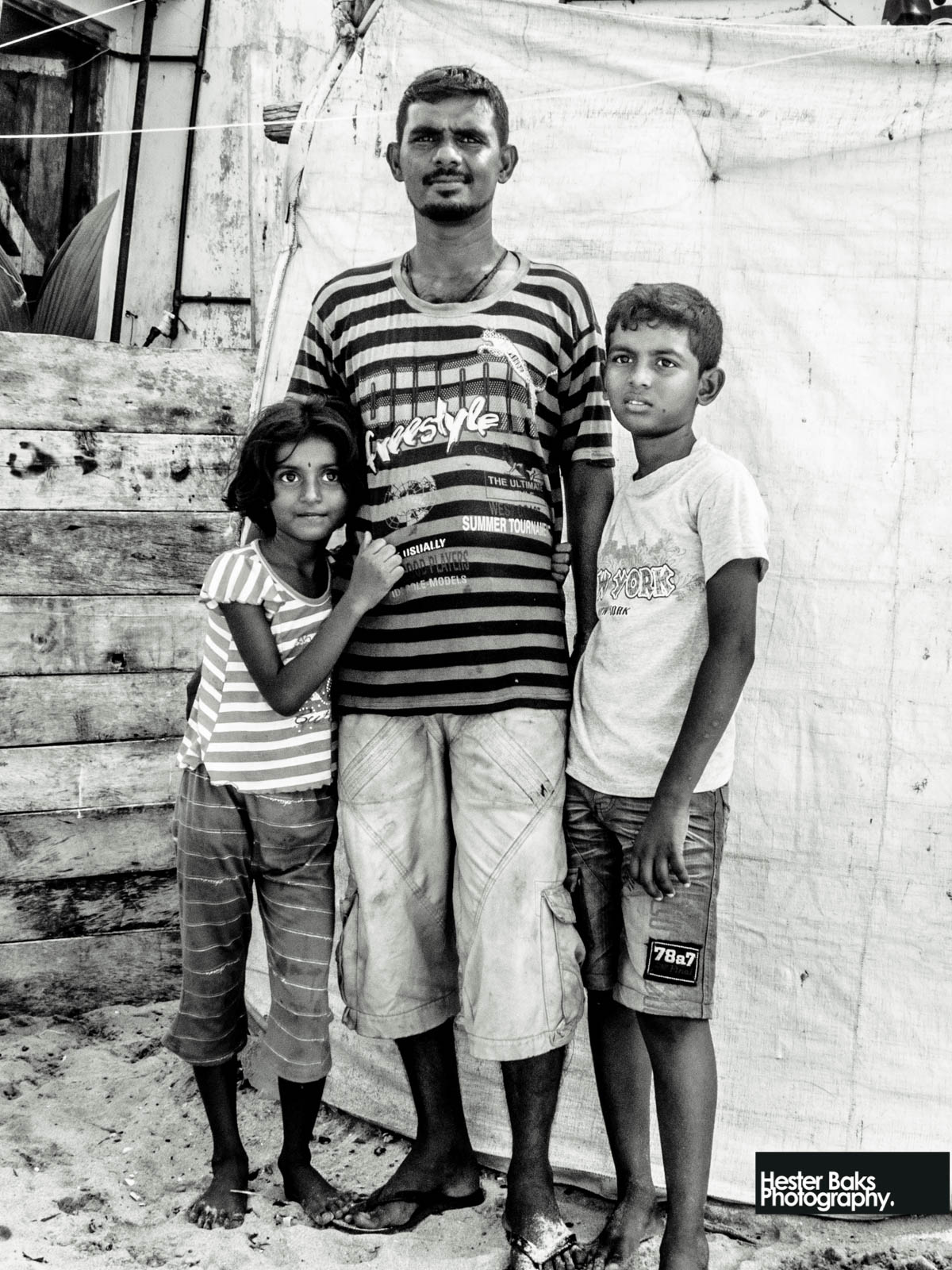 This fisherman asked me to take a picture of him and his family in front of his house at the beach, trincomalee, Srilanka